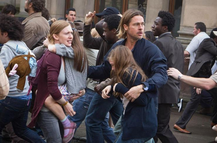Gerry Lane (Brad Pitt) joins the masses in fleeing for their lives