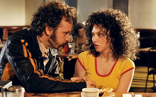 Linda Lovelace (Amanda Seyfried) starts to feel intimidated by Chuck  Traynor (Peter Sarsgaard)